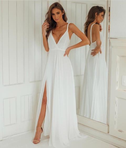 Vestido Casamento Civil e Festas Alças Trançadas Branco
