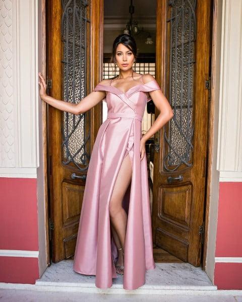 Vestido de Festa Longo Ombro a Ombro Zibeline Rosé