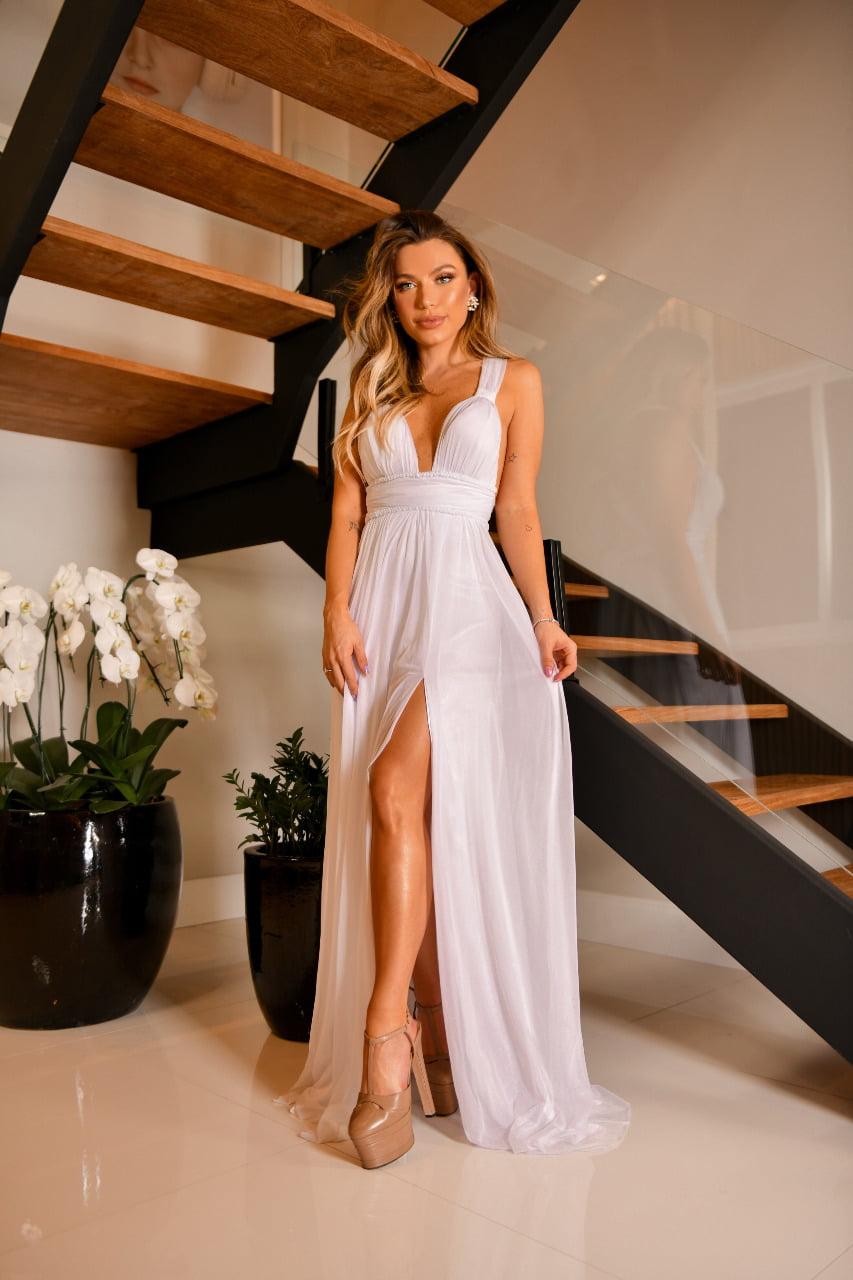 Vestido Branco Longo em Tule Com Fenda e Amarração nas Costas Casamento Civil, Noiva Civil e Festas.