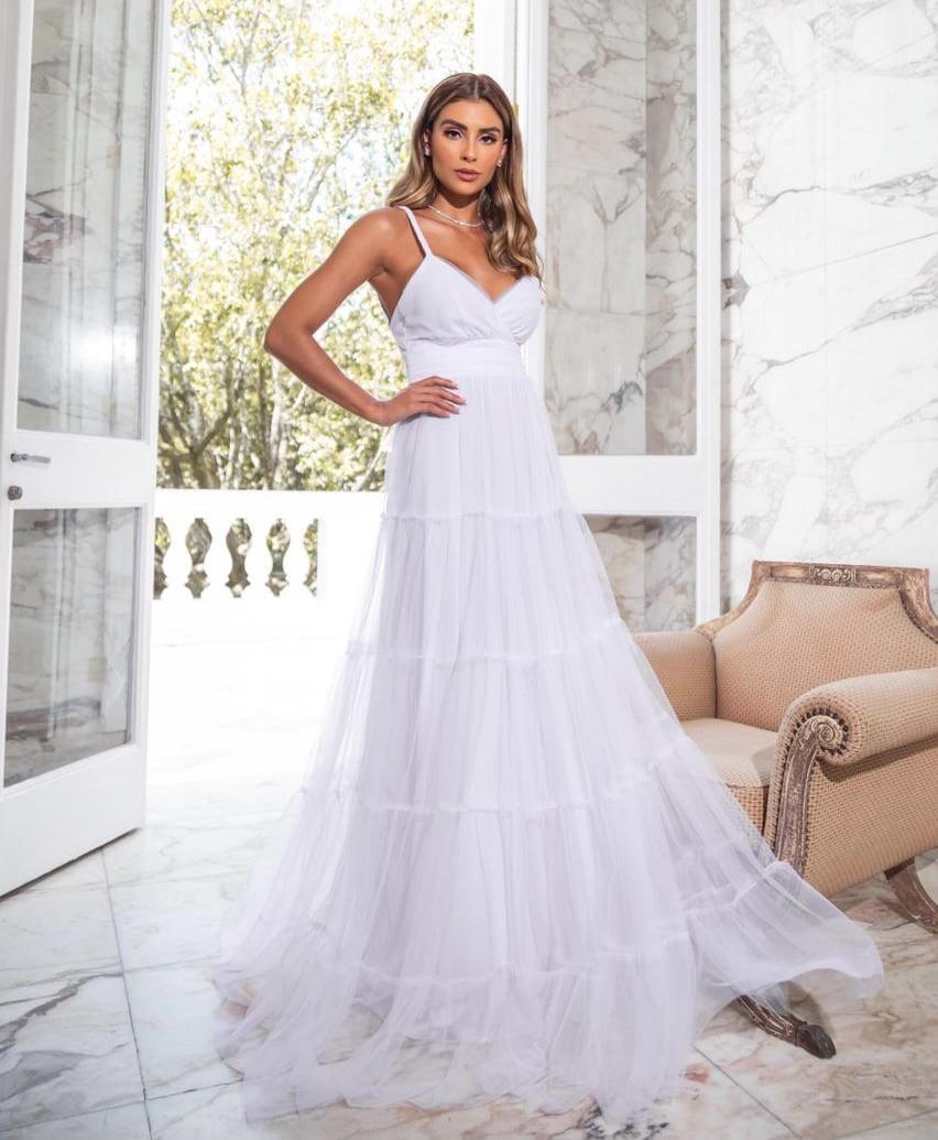 Vestido Branco Longo Tule Alças Trançadas Casamento Civil, Noiva Civil e Festas