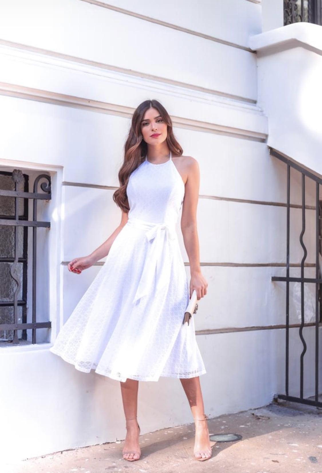 Vestido Branco Midi Frente Única Saia Fluida Guipir Casamento Civil, Noiva Civil e Festas.