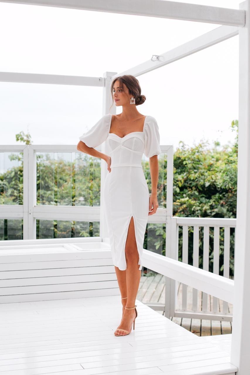 Vestido Branco Midi Sereia Busto Marcado e Fenda Casamento Civil, Noiva Civil e Festas - Exclusivo Site