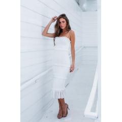 Vestido Midi Casamento Civil e Festas Branco Lastex