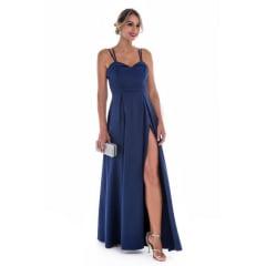 Vestido de Festa Longo Azul Marinho Fenda e Alças Duplas
