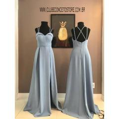 Vestido de Festa Longo Azul Serenity Fenda e Alças Duplas