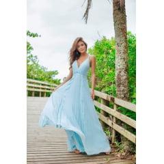 Vestido de Festa Longo Azul Serenity Plissado e Renda Madrinha, Convidada, Formanda.