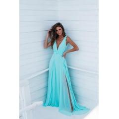 Vestido de Festa Longo Azul Tiffany Madrinha e Convidada