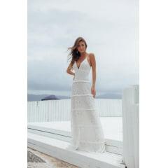 Vestido de Festa Longo Branco Off Renda