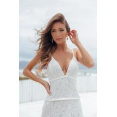 Vestido Casamento Civil e Festas Longo Branco Renda