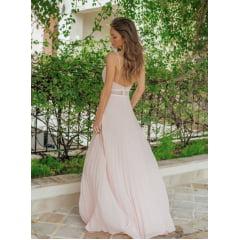 Vestido de Festa Longo Plissado Rosé