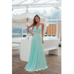 Vestido de Festa Longo Azul Tiffany Plissado Madrinha, Convidada, Formanda.