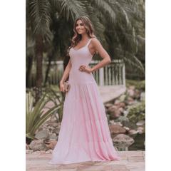Vestido de Festa Longo Rosa Saia em Camadas Madrinha, Convidada, Formanda.