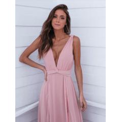 Vestido de Festa Longo Rosé com Fenda Madrinha e Convidada