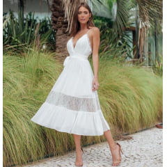 Vestido Casamento Civil e Festas Detalhes em Renda Branco