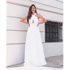 Veste Branco Longo Cruzado na Frente Casamento Civil, Noiva Civil e Festas.