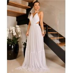 Vestido Branco Longo Busto Estruturado e Alças Finas Cruzadas nas Costas Casamento Civil, Noiva Civil e Festas.