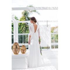 Vestido Branco Longo Casamento Civil e Festas Manga 3/4 Crepe com Poá Casamento Civil, Noiva Civil e Festas