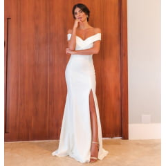 Vestido Branco Longo Crepe com Elastano Sereia Casamento Civil, Noiva Civil e Festas