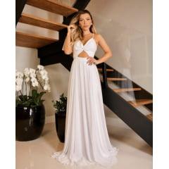 Vestido Branco Longo Decote Cruzado e Fenda Casamento Civil e Festas
