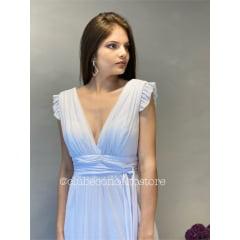 Vestido Branco Longo Lurex Gliter Decote em V Casamento Civil, Noiva Civil e Festas.