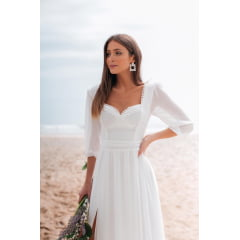 Vestido Branco Longo Manga 3/4 Com Fenda Casamento Civil, Noiva Civil e Festas - Exclusivo Site