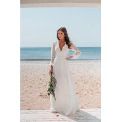 Vestido Branco Longo Manga Longa Costas em V Casamento Civil e Festas - Exclusivo Site