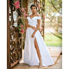 Vestido Branco Longo Ombro a Ombro Crepe Acetinado Casamento Civil, Noiva Civil e Festas.