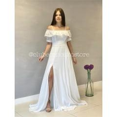 Vestido Branco Longo Ombro a Ombro Fios de Lurex Casamento Civil, Noiva Civil e Festas