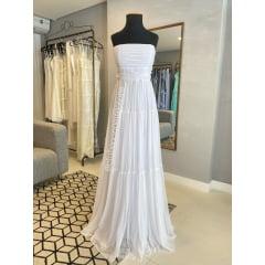 Vestido Branco Longo Tomara que Caia Costas Trançadas Casamento Civil, Noiva Civil, Festas.