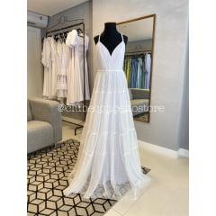Vestido Branco Longo Tule de Poá Alças Trançadas Casamento Civil, Noiva Civil e Festas.