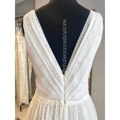 Vestido Branco Longo Tule de Poá Decote em V Casamento Civil, Noiva Civil, Festas.