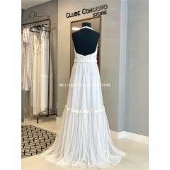 Vestido Branco Longo Tule de Poá Frente única Casamento Civil, Noiva Civil, Festas.
