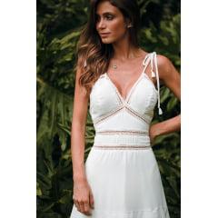 Vestido Branco Midi Alça Fina Busto Guipir Casamento Civil, Noiva Civil e Festas.