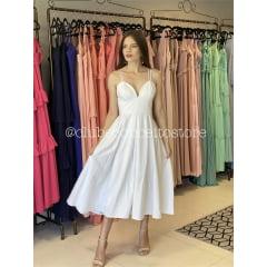 Vestido Branco Midi Alfaiataria Alças Duplas Casamento Civil, Noiva Civil e Festas