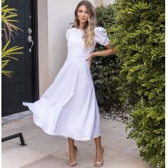 Vestido Branco Midi Alfaiataria Mangas Bufantes Casamento Civil, Noiva Civil e Festas.