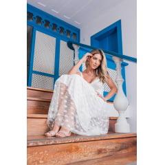 Vestido Branco Midi Busto Corpete em Poá Casamento Civil, Noiva Civil e Festas