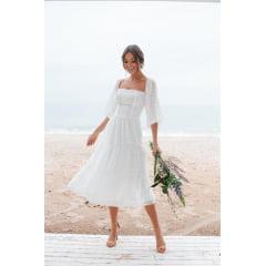 Vestido Branco Midi Ciganinha Maquinetado Casamento Civil e Festas