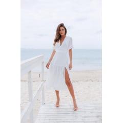 Vestido Branco Midi com Fenda - Exclusivo site.