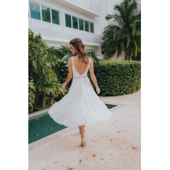 Vestido Branco Midi Decote em V nas Costas Casamento Civil, Noiva Civil e Festas.