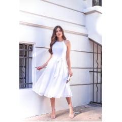 Vestido Branco Midi Frente Única Saia Fluida Guipir
