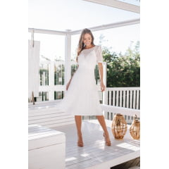Vestido Branco Midi  Manga Curta Poá de Lurex - PEÇA EXCLUSIVA SITE