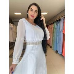 Vestido Branco Midi Manga Longa Com Guipir Saia Plissada Casamento Civil, Noiva Civil e Festas.