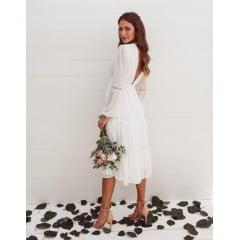 Vestido Branco Midi Manga Longa e Saia com Guipir Casamento Civil, Noiva Civil e Festas.