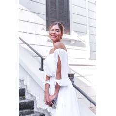 Vestido Branco Midi Manga Vazada e Saia Plissada Casamento Civil, Noiva Civil e Festas.