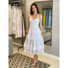 Vestido Branco Midi Mix de Renda e Crepe Casamento Civil, Noiva Civil e Festas.