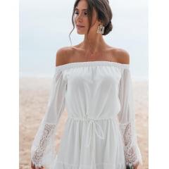 Vestido Branco Midi Ombro a Ombro Manga Longa Casamento Civil, Noiva Civil e Festas
