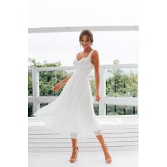 Vestido Branco Midi Poá e Busto Estruturado Casamento Civil e Festas