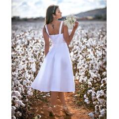 Vestido Branco Midi Zibeline Cinto Channel Casamento Civil, Noiva Civil e Festas.
