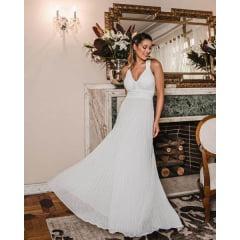Vestido Casamento Civil e Festas Branco Plissado