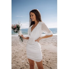 Vestido Curto Branco Camisaria Casamento Civil e Festas - PEÇA EXCLUSIVA SITE